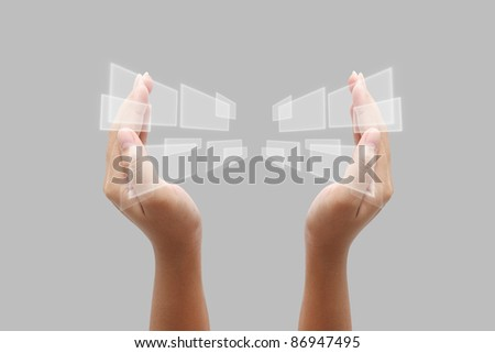 hand pushing on a touch screen