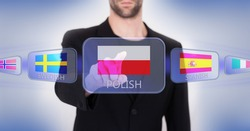 Hand pushing on a touch screen interface, choosing language or country, Polish