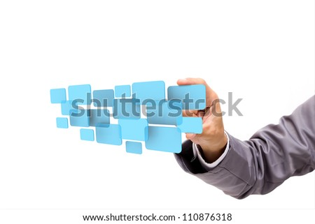 hand pushing on a touch screen interface, isolated on white background