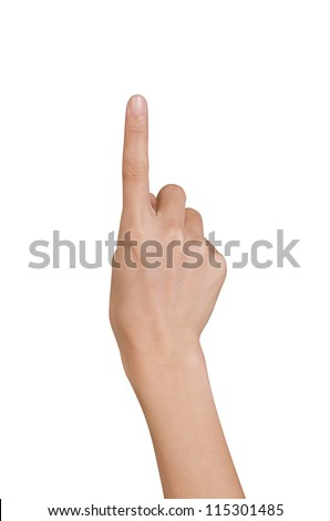 Hand pushing on a white background with clipping path