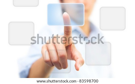 Hand pushing on touch screen icon, isolate on white