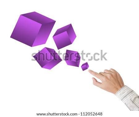 Hand pushing purple box