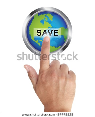 Hand pushing save earth button, ecological concept