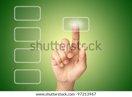 Hand pushing screen button
