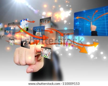 hand pushing social media