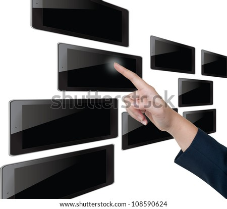 Hand pushing tablet on a touch screen blank interface