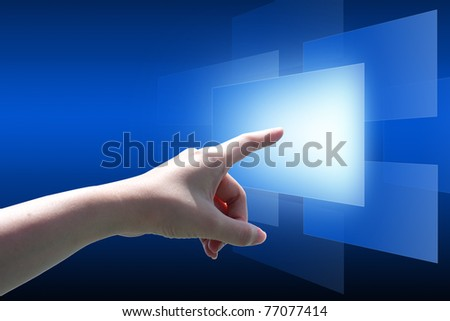 Hand pushing the button