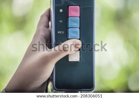Hand pushing the button. Choice concept