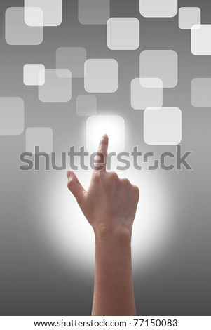 Hand pushing the buttons on Gray background