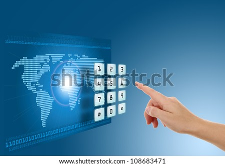 Hand pushing touch screen button with blue background with map #108683471