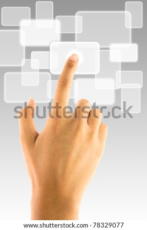 Hand pushing white touch screen button