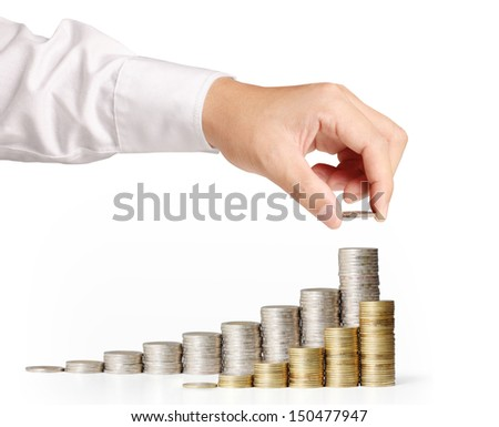 Hand put coin to money ,Business idea