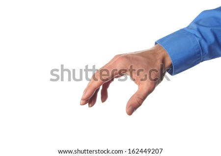 hand reaching for something isolated on white background