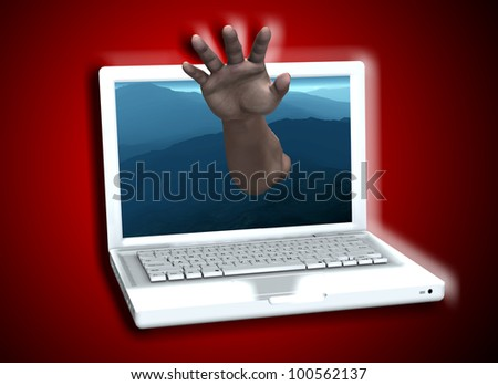 Hand reaching out of Laptop screen.