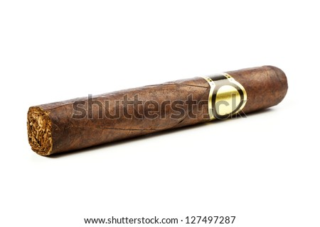 hand-rolled cigar on white background