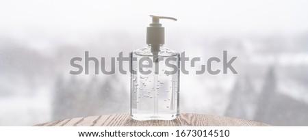 Hand sanitizer bottle on banner header background for COVID-19 Coronavirus concept.