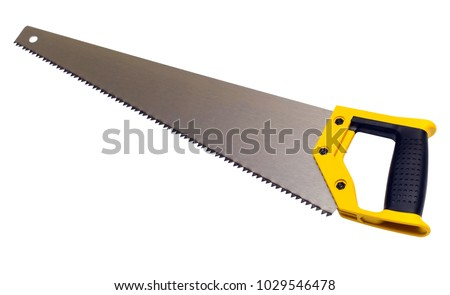Hand saw isolated on white background. Hacksaw on wood. Flat lay, top view
