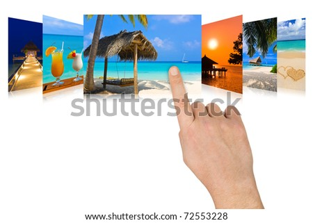 Hand scrolling summer beach images - nature and tourism concept (my photos) - stock photo