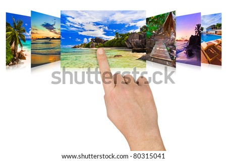 Hand scrolling summer beach images - nature and tourism concept (my photos)