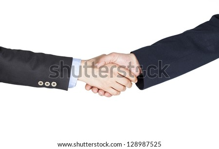 Hand shake between a businessman and a businesswoman on white background