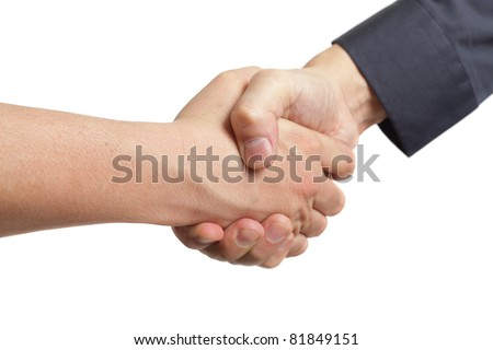 Hand shake between a salesman and customer. Isolated on white background.
