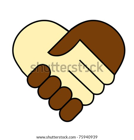 hand shake between black and white man, heart shaped symbol  raster version