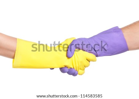 Hand shake in a rubber gloves isolated on white background