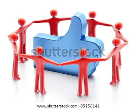 "Hand-shaped ""Like"" symbol and people around, 3d render on white background"
