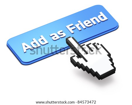 Hand-shaped mouse cursor press Add as Friend button
