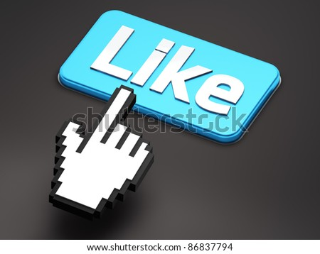 Hand-shaped mouse cursor press Like button on dark background - stock photo