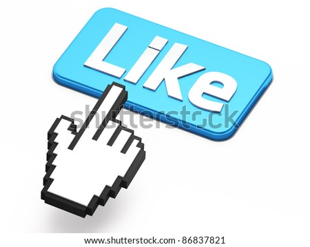 Hand-shaped mouse cursor press Like button on white background