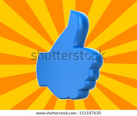 Hand Shaped mouse Cursor thumb up like good social media share 3d symbol icon button illustration