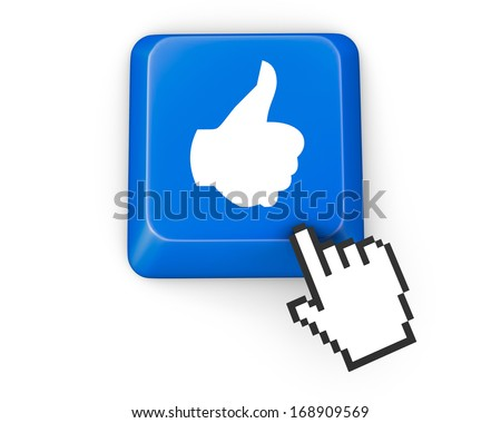 Hand Shaped mouse Cursor thumb up like man share good social media share 3d symbol icon button illustration keyboard
