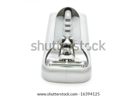 Hand shaver in container on isolated
