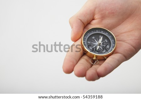 hand show a compass on the plain background