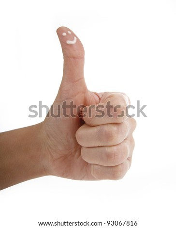 Hand show gesture ok with smiley finger isolated on white background - stock photo