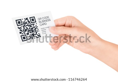 Hand showing business card with QR code information. Isolated on white.