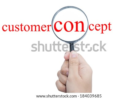 Hand Showing customer concept Word Through Magnifying Glass