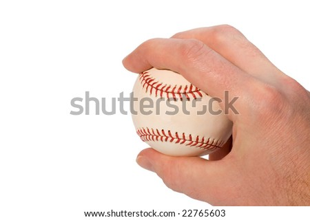 Hand showing four-seam fastball baseball grip isolated on white
