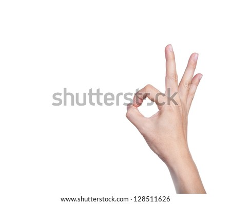 hand showing OK sign isolated