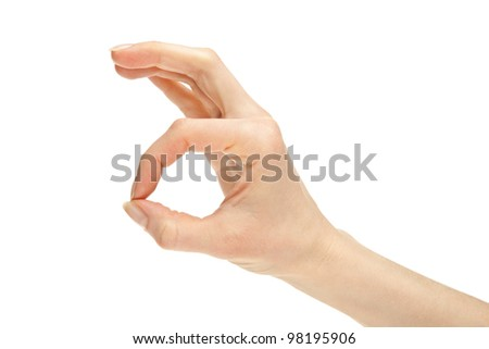 Hand showing OK sign isolated on white