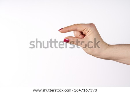 hand showing size isolated on white background with clipping path Stock photo ©