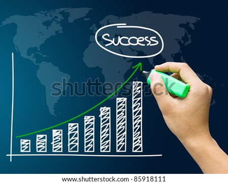 Hand showing success graph isolated