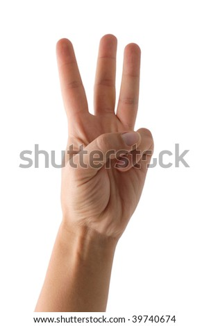 Hand showing three fingers during remote communication