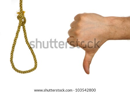 Hand showing thumb down to hangman knot. Concept against death  punishment