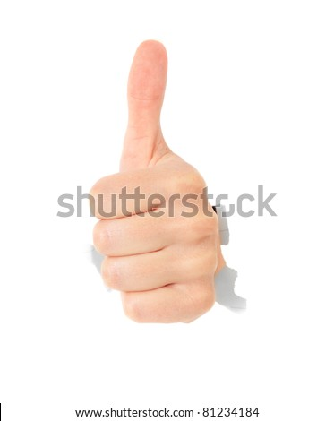 Hand showing thumbs up out of torn hole in white wall. All on white background.