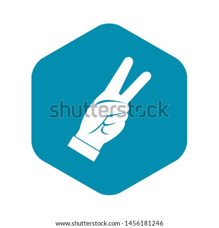 Hand showing victory sign icon. Simple illustration of hand showing victory sign icon for web