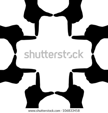 Hand silhouettes form a cross