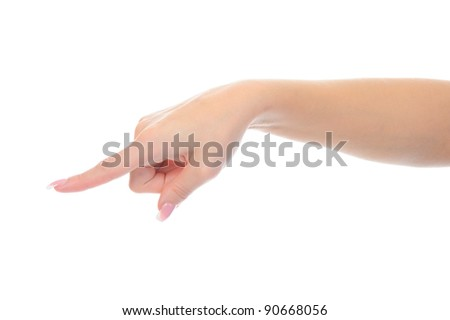 Hand simulating pressing a button. Isolated on white background