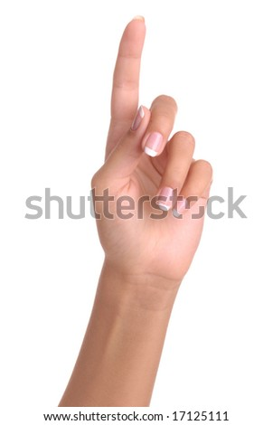 Hand simulating pressing a button or something else with index finger extended, isolated on a white background.